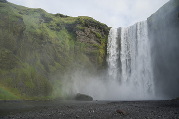 Icelandic Skogafoss waterfall in the south Iceland