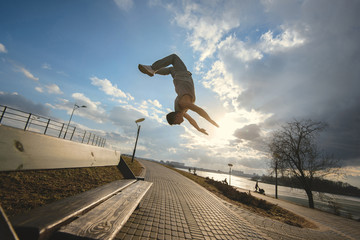 Young man doing parkour outdoor