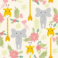 Vector seamless pattern with cartoon animals and flowers