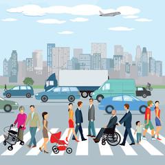 Personen zu Fuß auf den Zebrastreifen in der Stadt. Illustration