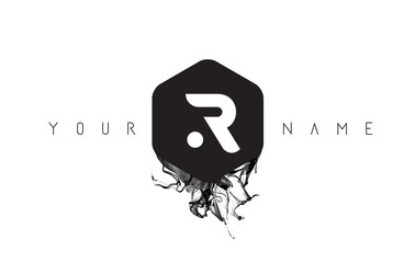 R Letter Logo Design with Black Ink Spill