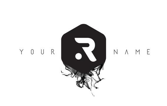 R Letter Logo Design with Black Ink Spill