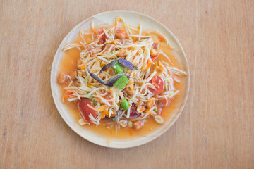 Famous Thai food papaya salad