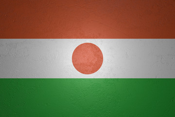 Flag of Niger on stone background, 3d illustration