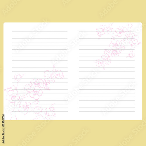 Template Notepad Note Book Page With Space For Text Paper Records