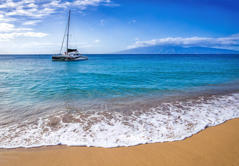 Wall Mural - Boat in ocean with sand