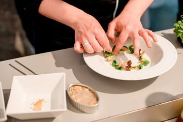 Close-up of female hands preparing modern molecular dish