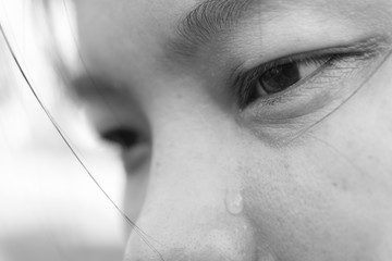 Black and white picture, Crying women with tears on face closeup