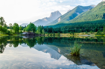 Landscape, Mountain reflection, Canmore Alberta, Quarry Lake, Reflection of The Three Sisters Peak.