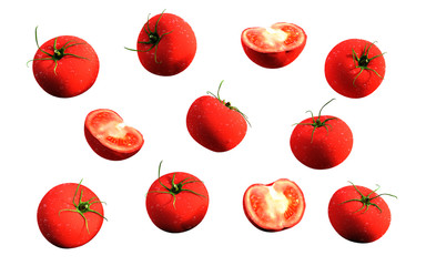 Tomatoes. red ripe tomatoes isolate on white background, 3d illustration.