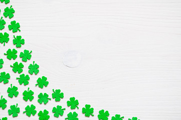 St Patrick's Day background with green quatrefoils