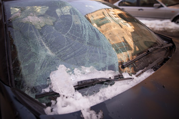 Car broken wind shield