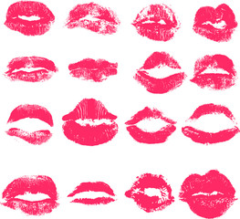 Vector set of lips. Imprint of lipstick with female lips.
