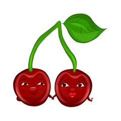 Two enamored cherries on one branch