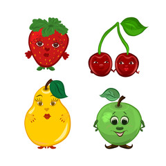 A set of funny berries and fruit of boys and girls, with faces