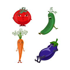 A set of funny vegetables of boys and girls, with faces