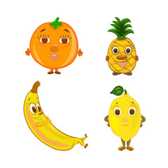 A set of funny funny fruits of boys with muzzles