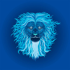 Neon blue Lion with long wavy curls on the mane