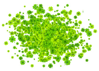Green four-leaf clovers cloud splash isolated on white background