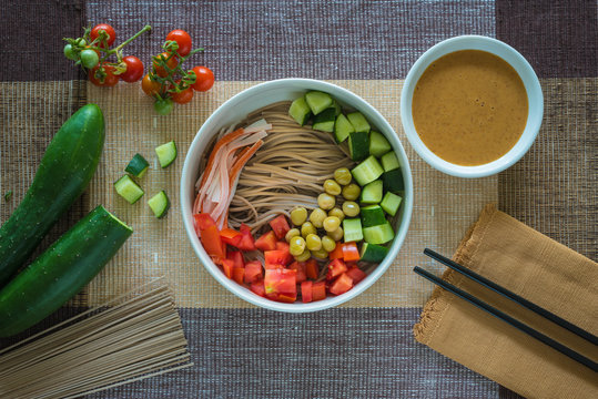 Soba salad with sesame dressing