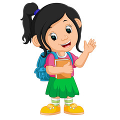 Cute girl go to school cartoon