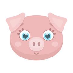Pig muzzle icon in cartoon style isolated on white background. Animal muzzle symbol stock vector illustration.