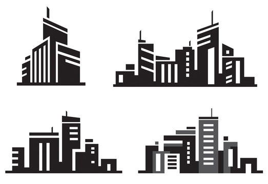 Vector city buildings silhouette icons.