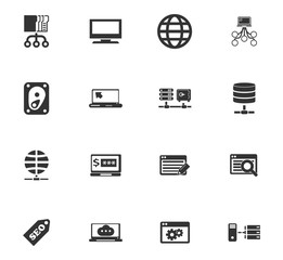 Hosting provider icons set