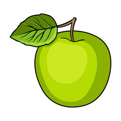 Green Apple with leaf.Proper diet for diabetes.Diabetes single icon in cartoon style vector symbol stock illustration.