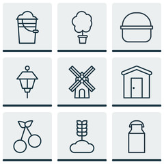 Set Of 9 Garden Icons. Includes Package, Bucket, Mill And Other Symbols. Beautiful Design Elements.