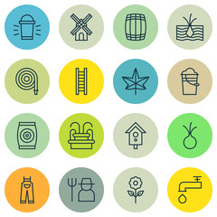 Set Of 16 Agriculture Icons. Includes Spigot, Stairway, Birdhouse And Other Symbols. Beautiful Design Elements.