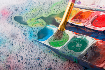 Watercolor paint dissolving in water
