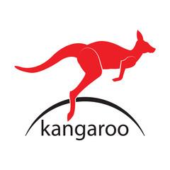 Kangaroo. Vector jump logo. icon symbol.