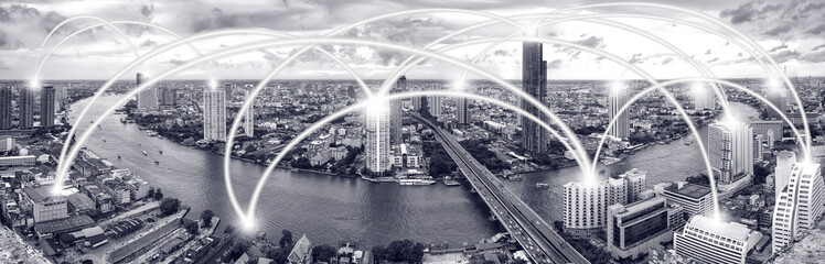 Cityscape and line effect network connection concept.
