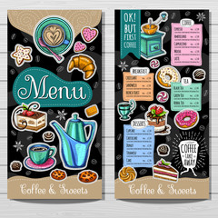 Coffee shop, brochure vector, cafe menu design, sketch style. Coffee, desserts, tea, breakfast, cakes, donut, croissant, quote, coffee take away. Lettering, cup, logo, trendy. Hand drawn vector.
