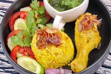 Muslim yellow jasmine rice with chicken,Halal food