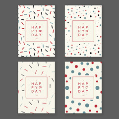 Set of trendy hand drawn design birthday greeting cards. Seamless patterns are included.