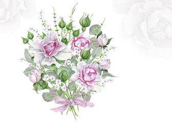 Watercolor floral bouquet with pink and white roses