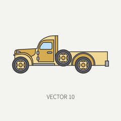 Line flat color vector icon service staff open body army truck. Military vehicle. Cartoon vintage style. Cargo transportation. Tractor unit. Tow auto. Simple. Illustration and element for your design.