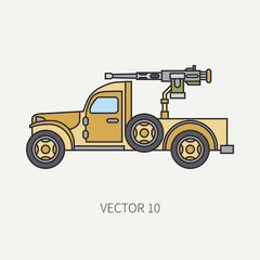 Line flat color vector icon armed open body army pickup. Military vehicle. Cartoon vintage style. Machine gun. Mobile weapon emplacement. Tractor unit. Tow. Illustration and element for your design.