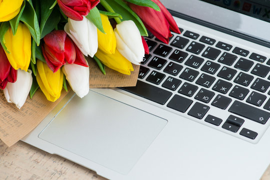 tulips on a laptop