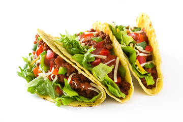 Traditional Mexican tacos with meat and vegetables, isolated on white background  Wall mural