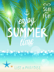 Wall Mural - Tropical beach poster, Enjoy summer.