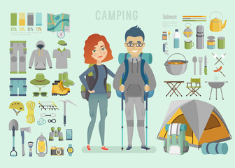Wall Mural - Camping infographic. Young couple, ready for adventure.