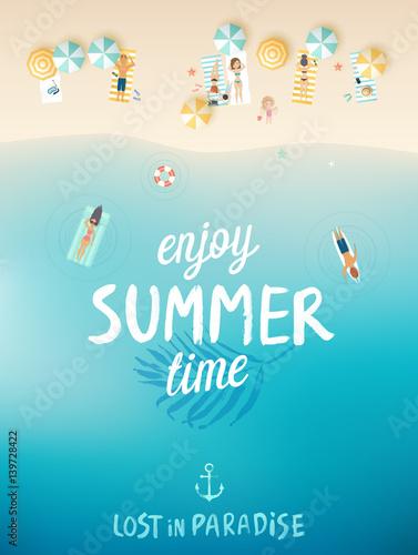 Wall mural Tropical beach poster, Enjoy summer.