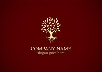 gold tree nature logo