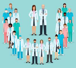 Group of doctors and nurses standing together. Medicine banner. Medical team. Flat style vector illustration.
