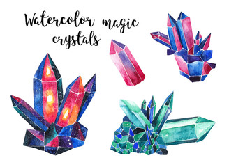 Magic crystals set. Watercolor illustration on white isolated background
