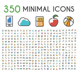 Set of 350 Minimalistic Solid Line Colored . Isolated Vector Elements