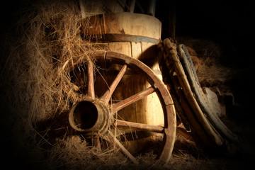 wheel, barrel and hay